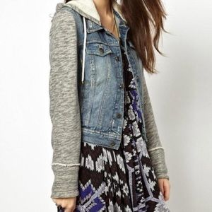 Free People Distressed Knit Denim Jacket